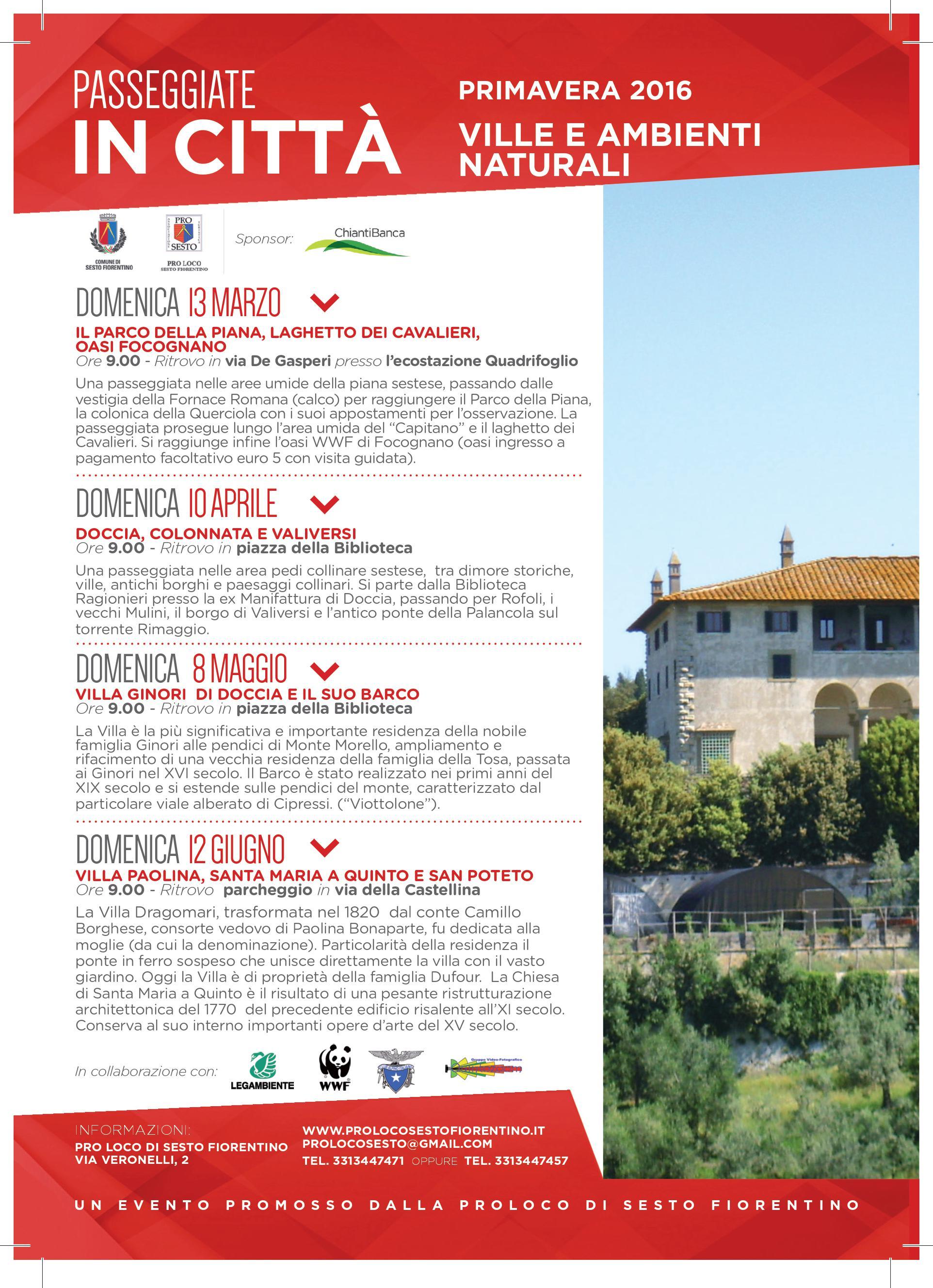 DOMENICA 12 GIUGNO ORE 9,00  Villa Paolina, Santa Maria a Quinto e San Poteto